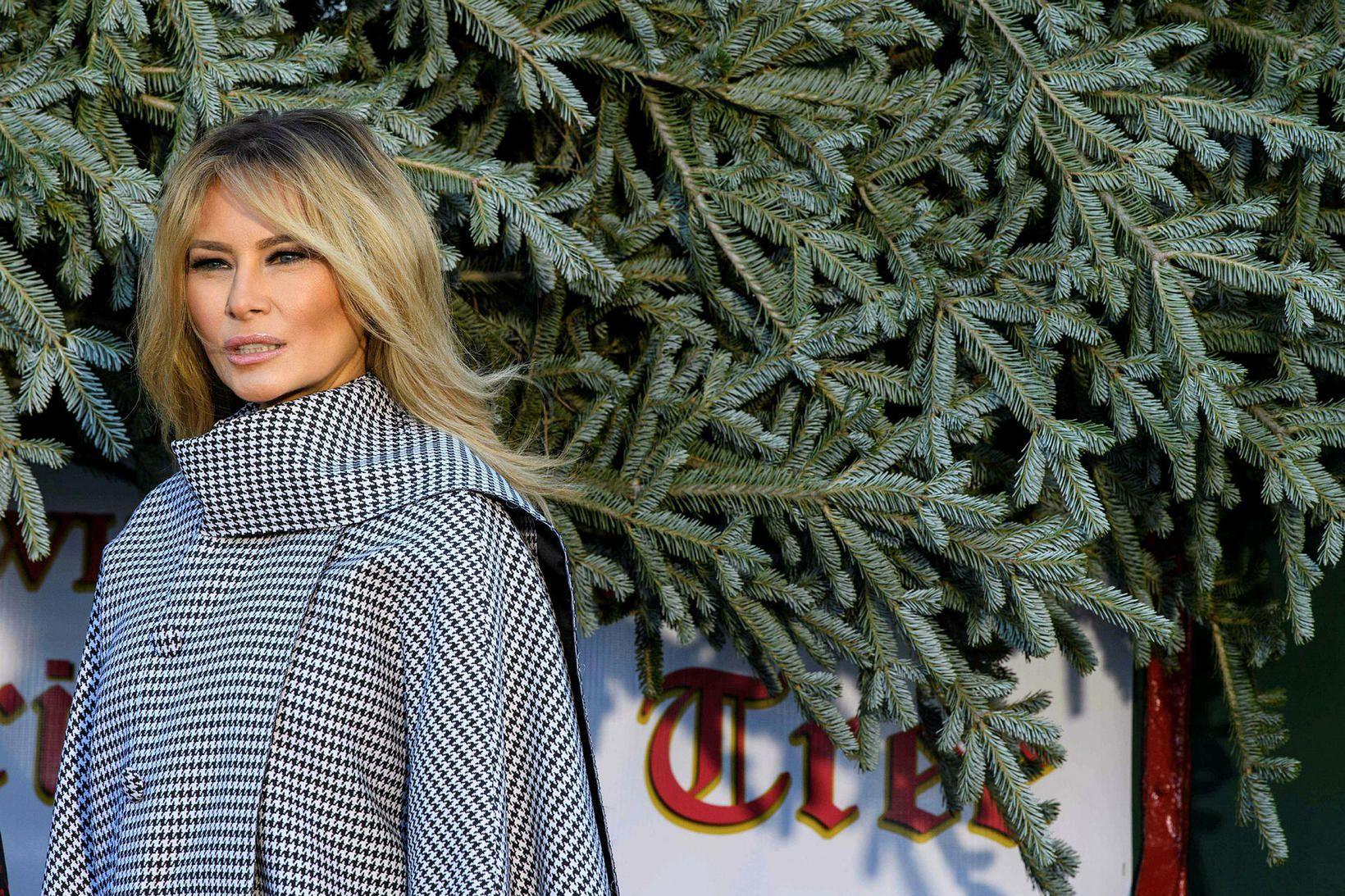 Melania Trump klæddi sig upp þegar jólatréð kom í hús.