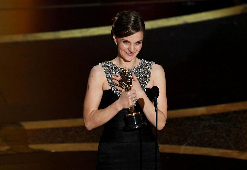 Hildur Guðnadóttir, accepting the Academy Award.