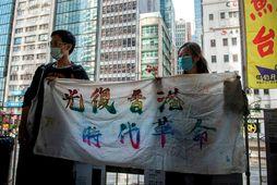 Frá mótmælum í Hong Kong.