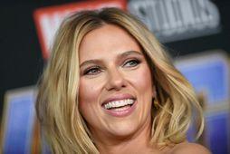 Scarlett Johansson á frumsýningu nýjustu Marvel-myndarinnar, Black Widow, þeirri 24 frá árinu 2008.