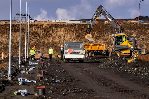 Roadwork in Grindavík, on the Reykjanes peninsula.