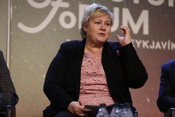 Erna Solberg, forsætisráðherra Noregs, á blaðamannafundi á Nordic Future Forum.