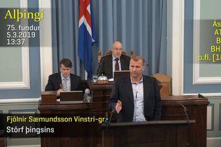 Fjölnir Sæmundsson, varaþingmaður Vinstri grænna, á Alþingi í dag.