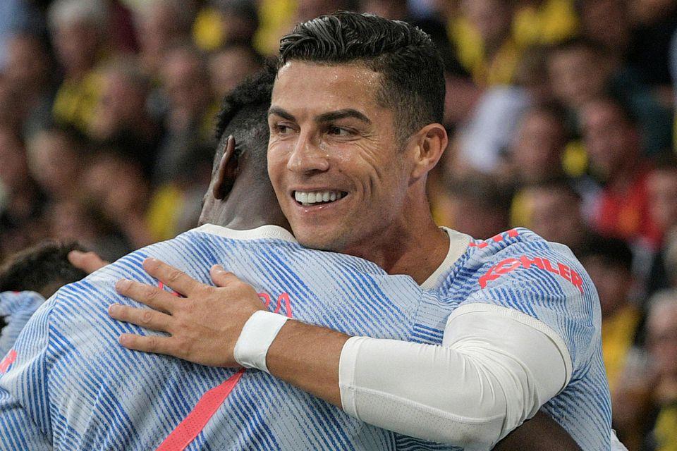 Cristiano Ronaldo fagnar marki sínu á 13. mínútu.