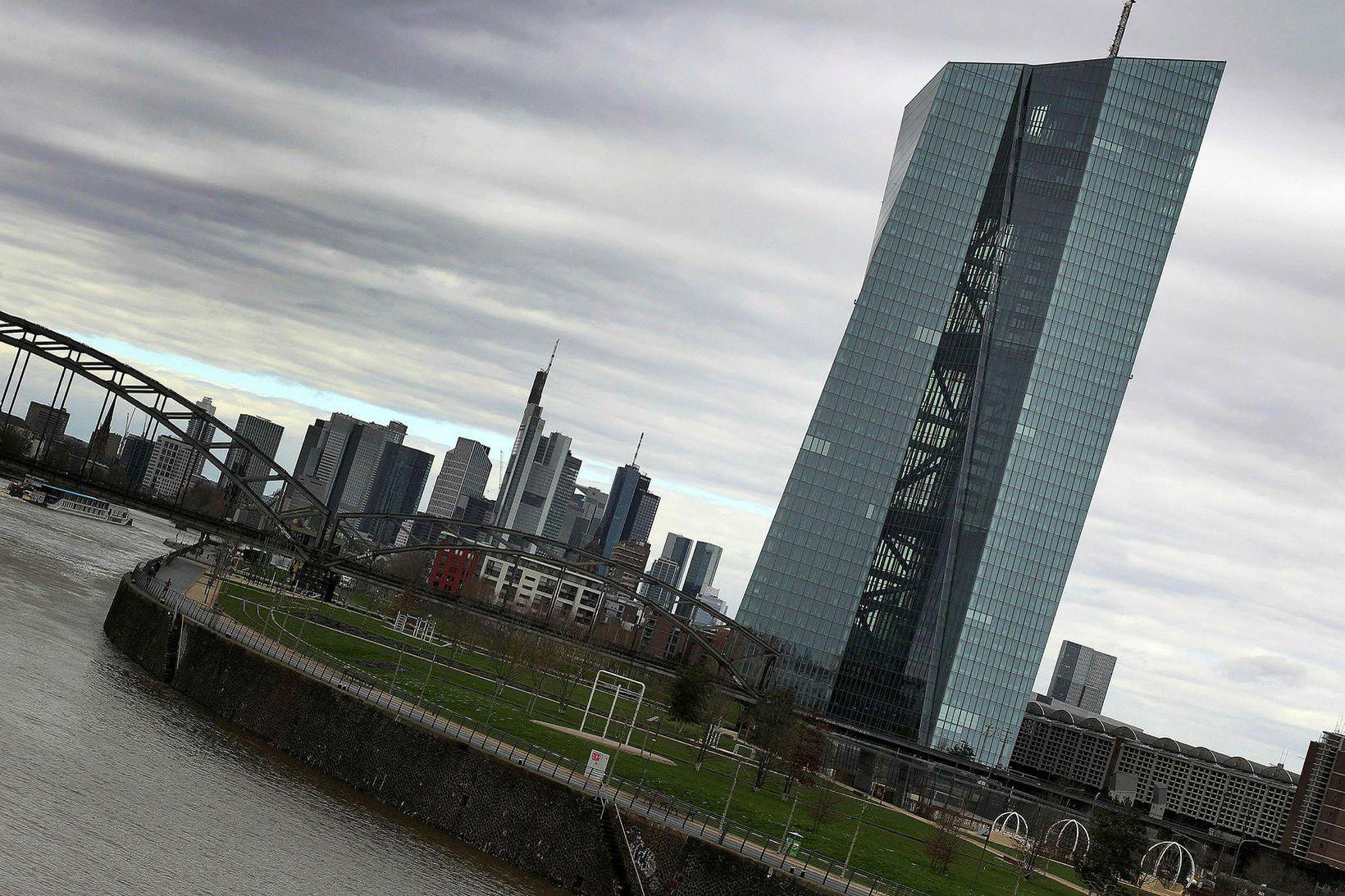Höfuðstöðvar Seðlabanka Evrópu í Frankfurt.