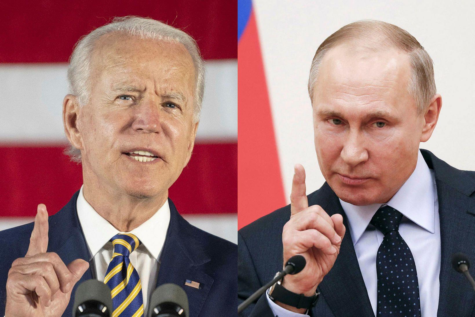 Joe Biden forseti Bandaríkjanna og Vladimír Pútín forseti Rússlands ætla …