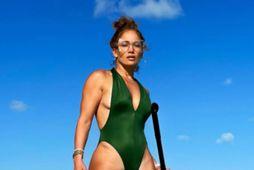 Jennifer Lopez byrjaði árið í Karíbahafinu.