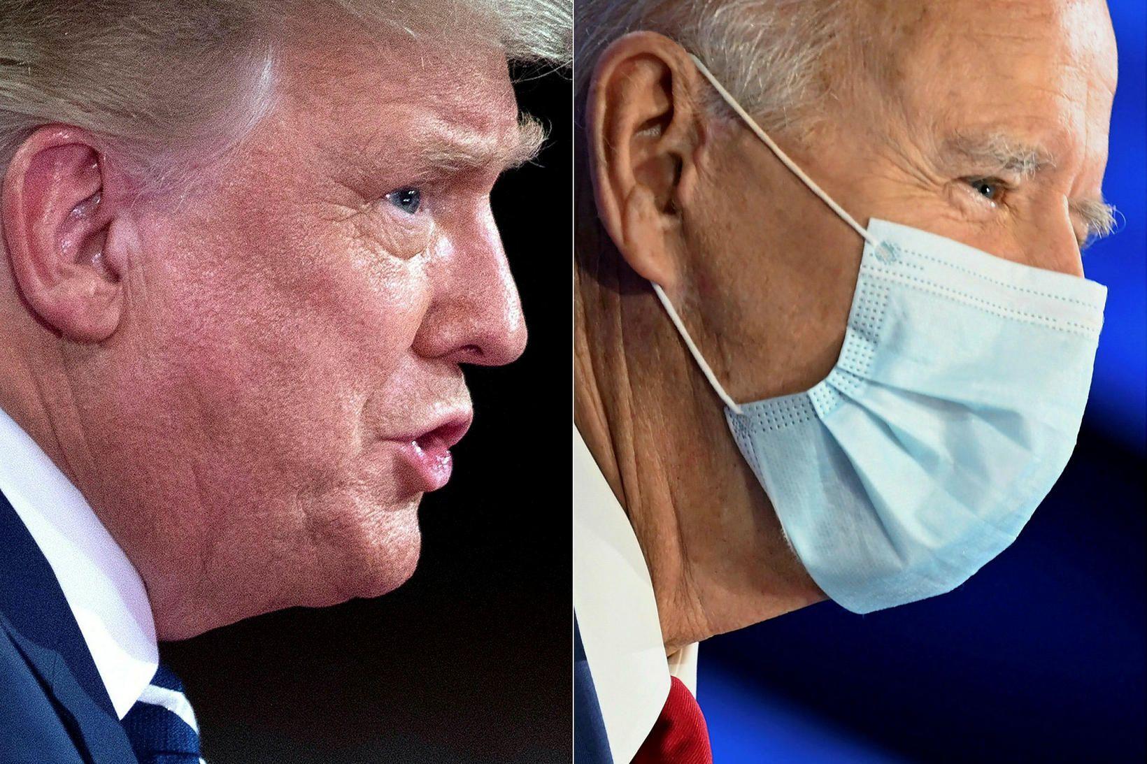 Trump og Biden á samsettri mynd. Myndirnar af þeim voru …