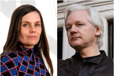 Katrín Jakobsdóttir og Julian Assange.