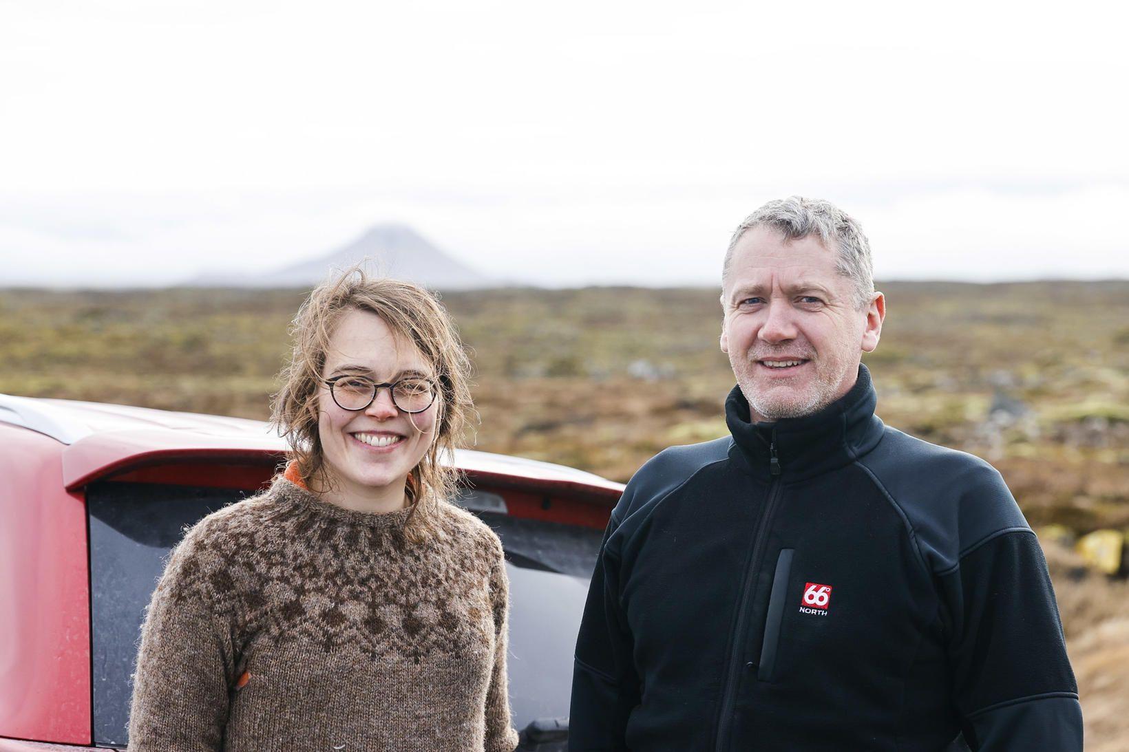 Þorbjörg og Sveinbjörn á vettvangi í dag.