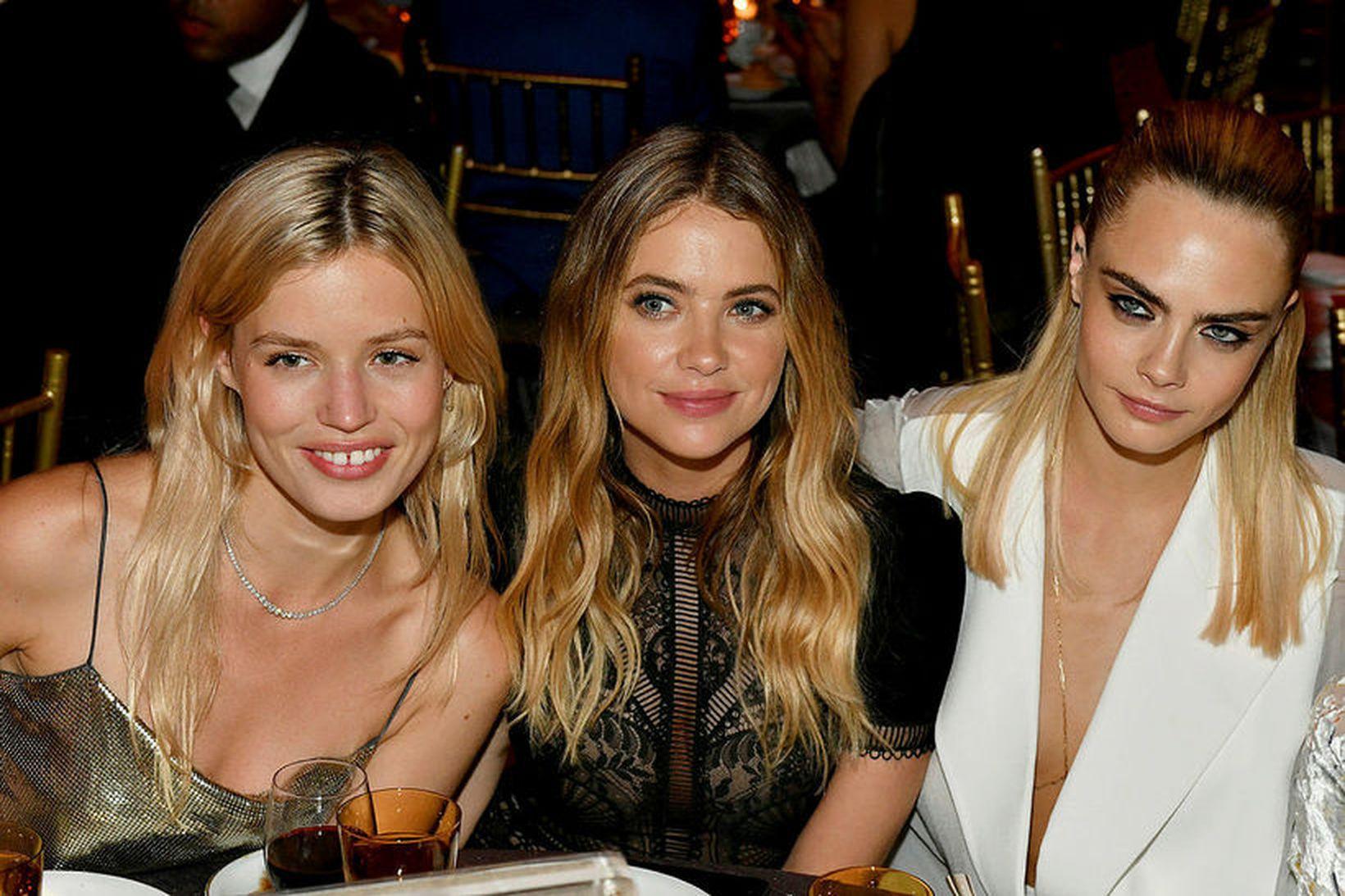 Georgia May Jagger, Ashley Benson og Cara Delevingne í júní.