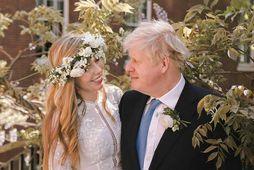 Carrie Johnson og Boris Johnson gengu í hjónaband um helgina.