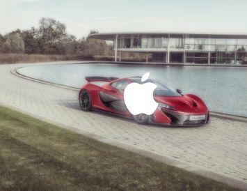 Eiga fulltrúar Apple og McLaren í viðræðum eður ei? Hér er McLaren ofursportbíll við tæknimiðstöð ...