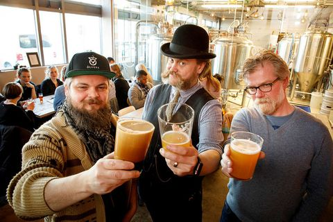 From RVK Brewing Co. From left: Nonni Quest, barber, Valgeir Valgeirsson brewer, and Sigurður Pétur Snorrason, co-owner of RVK Brewing Co.