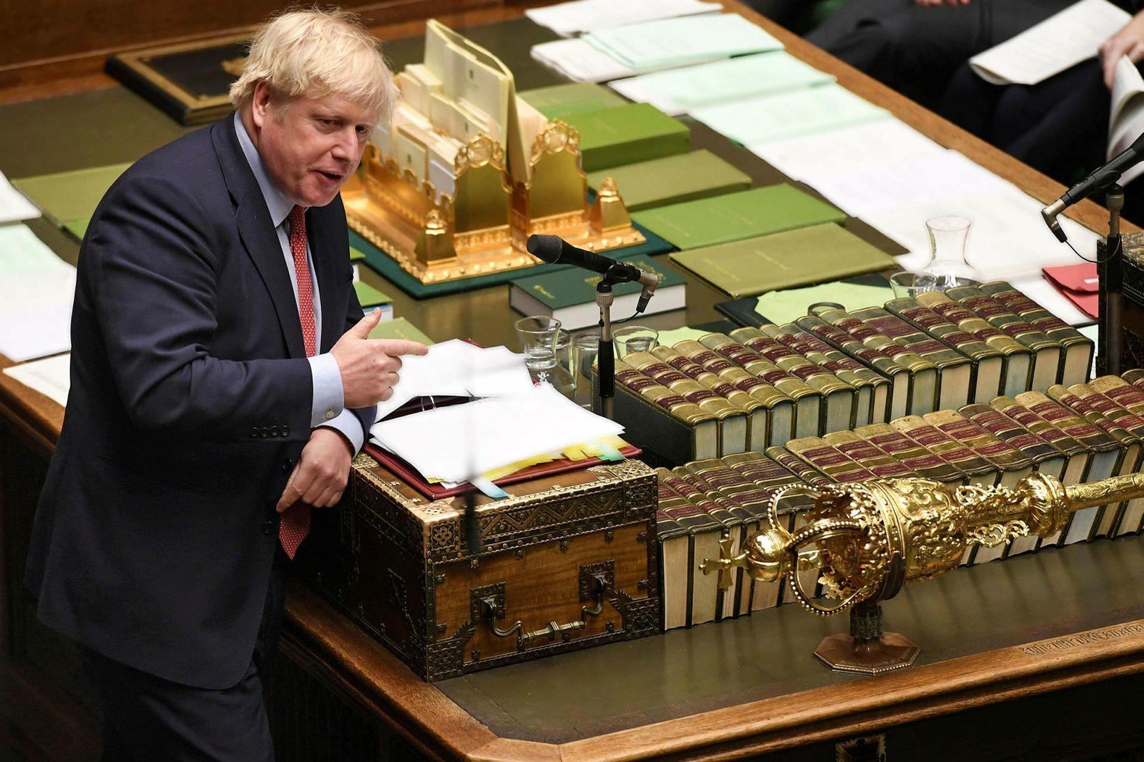 Boris Johnson, forsætisráðherra Bretlands, í neðri deild breska þingsins í …