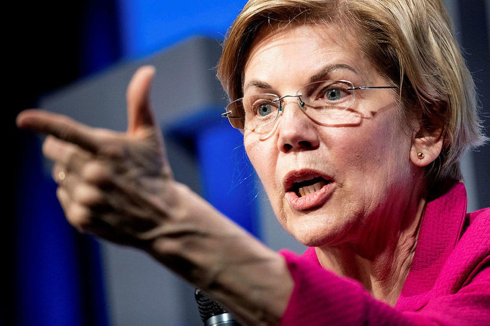 Elizabeth Warren, öldugadeildarþingmaður Demókrataflokksins og frambjóðandi í forvali flokksins vegna …