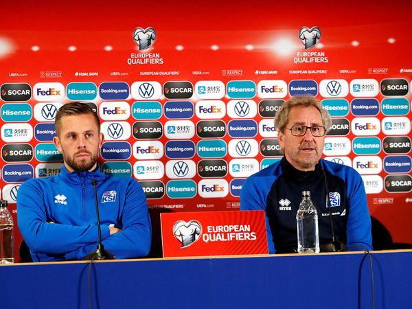 Gylfi Þór Sigurðsson and Coach Erik Hamrén, at a press conference yesterday.
