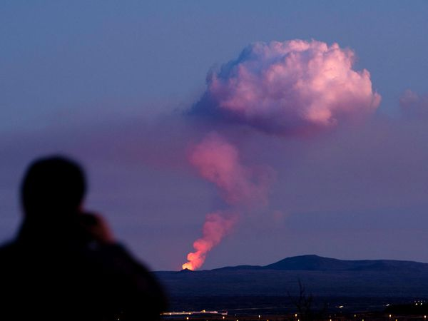 The eruption, seen from Reykjavík.