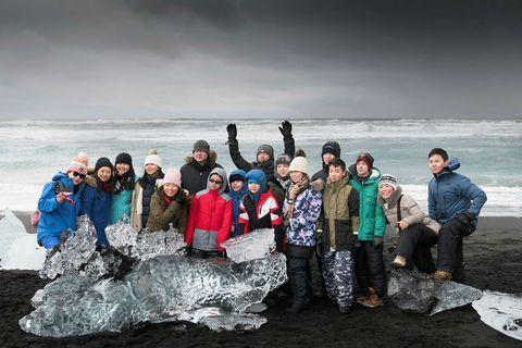 Tourists at Jökusárlón glacial lagoon.