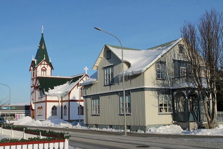 The church and congregation hall in Húsavík.