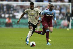 Marcus Rashford náði sér ekki á strik gegn West Ham í gær.