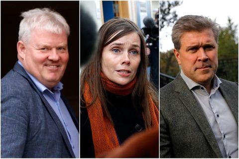Sigurður Ingi Jóhansson, Katrín Jakobsdóttir og Bjarni Benediktsson.