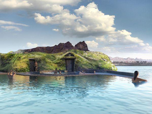 The entrance to the spa looks like an Icelandic turf house.