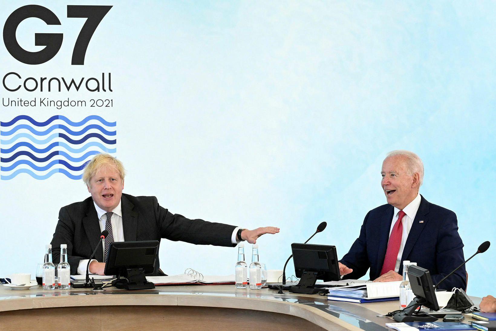 Boris Johnson, forsætisráðherra Bretlands og Joe Biden, forseti Bandaríkjanna á …