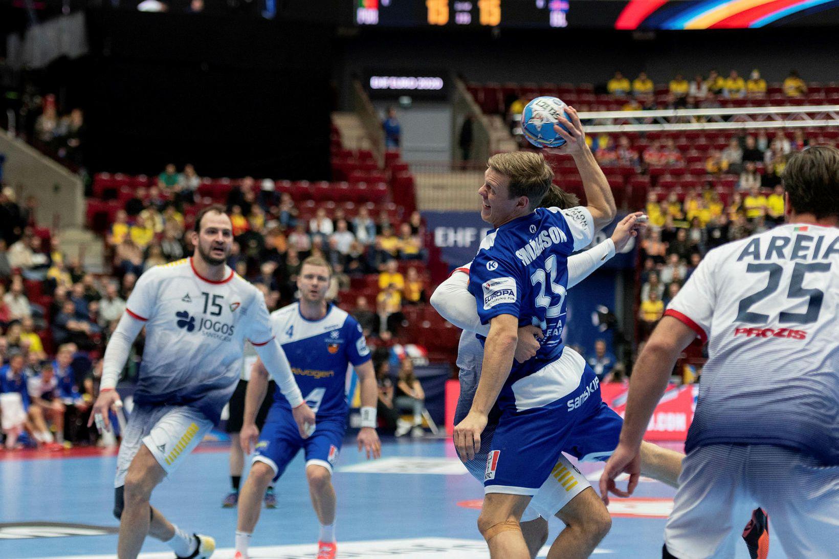 Janus Daði Smárason gegn Portúgölum á EM í Malmö í …