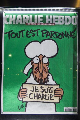 The cover of the French satirical magazine, Charlie Hebdo following the terrorist attack on their ...