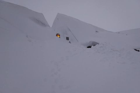The Icelandic Emigration Center, covered in snow.