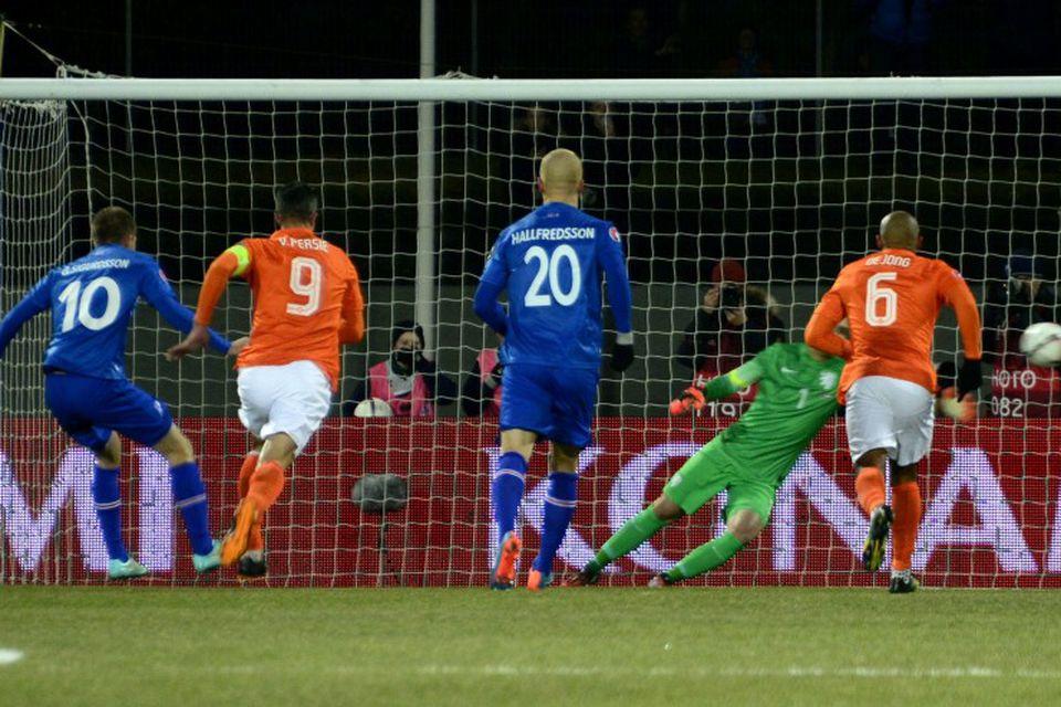 Frá leik Íslands og Hollands mánudagskvöldið 13. október 2014