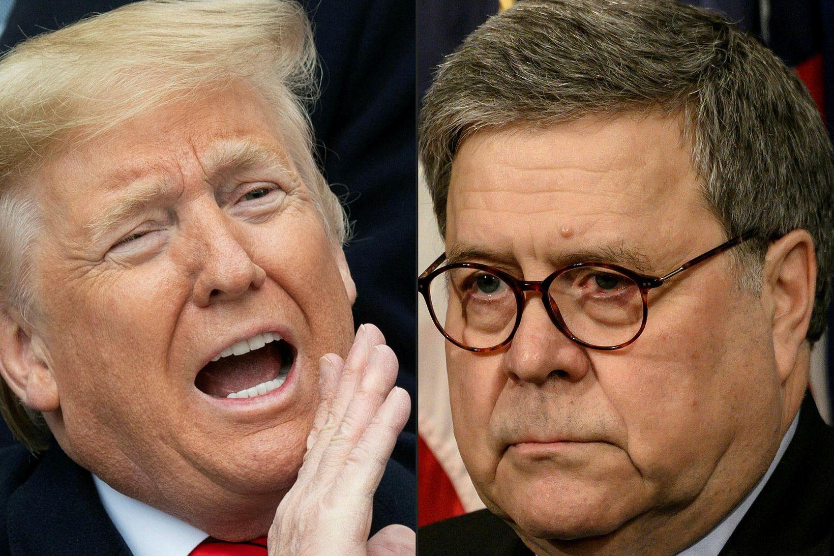 Donald Trump Bandaríkjaforseti og William Barr dómsmálaráðherra.