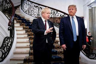 Johnson og Trump funduðu yfir morgunverði áður en þeir hittu hina leiðtoga G7 í dag.