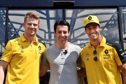 Á mála hjá Renault, frá vinstri Nico Hülkenberg, Simon Pagenaud sem vann Indianapolis 500 kappaksturinn …