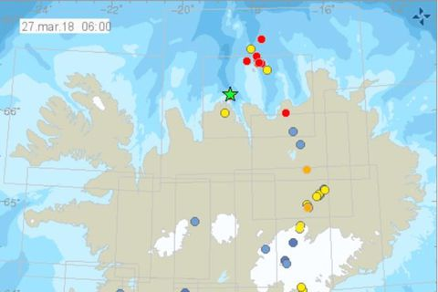 The earthquakes this morning with the largest shown as a green star on the map.