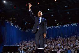Barack Obama forseti Bandaríkjanna í nótt er hann fagnaði sigri.