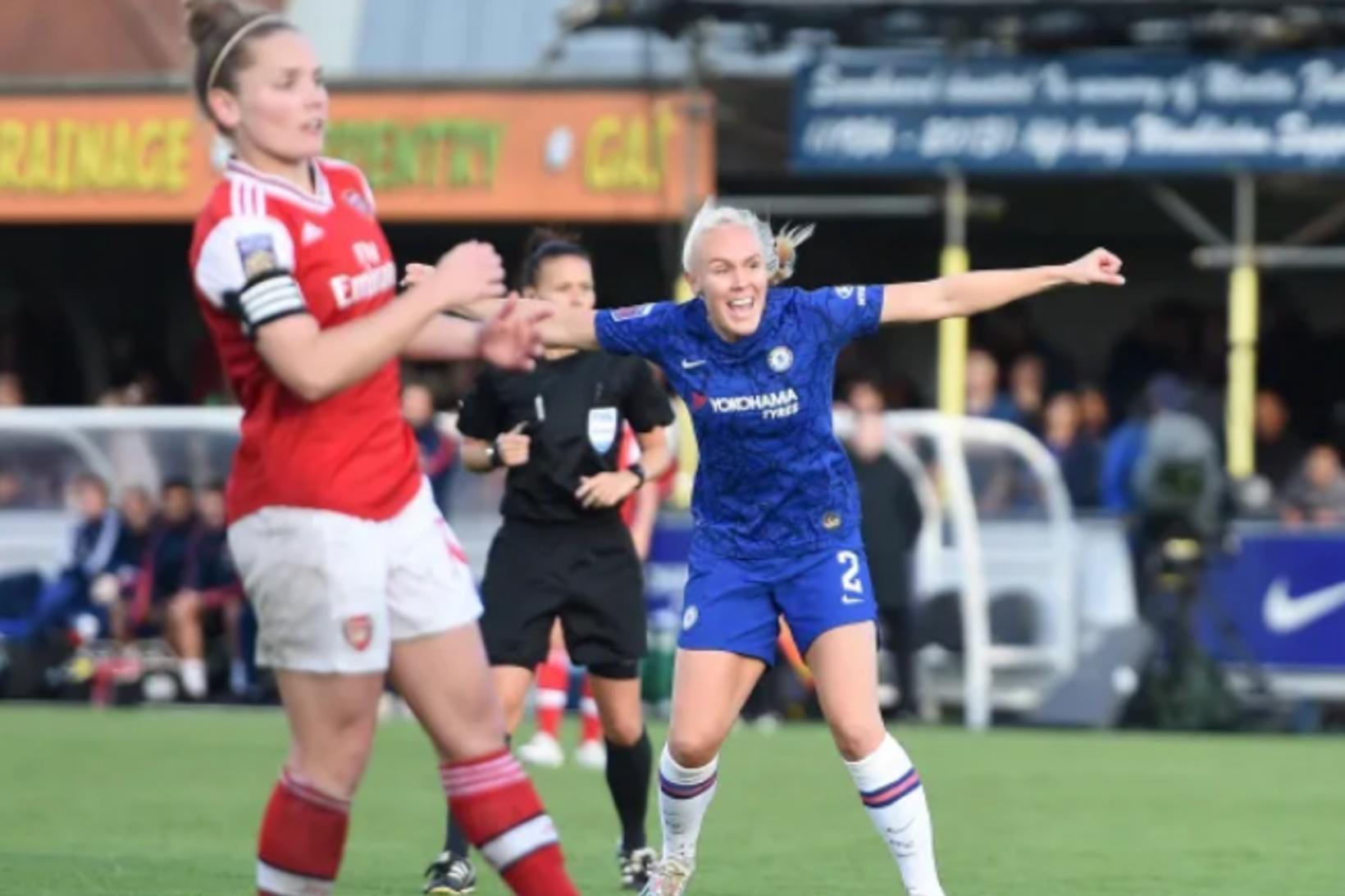 María Þórisdóttir tryggði Chelsea sigurinn gegn Arsenal í gær.