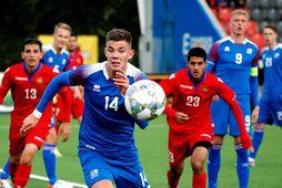 Brynjólfur Darri Willumsson í leik með U21 árs landsliðinu gegn Armenum í síðasta mánuði.