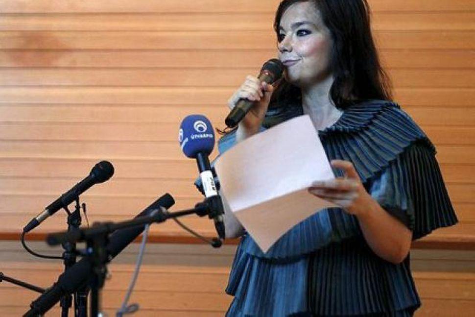 Björk Guðmundsdóttir á blaðamannafundi á Íslandi fyrir nokkrum vikum