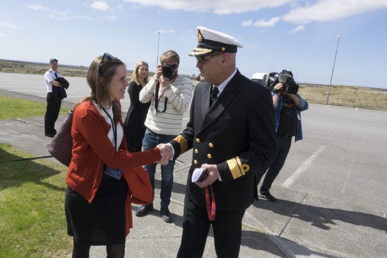 Katrín Jakobsdóttir arrives at the meeting of the National Security Council.