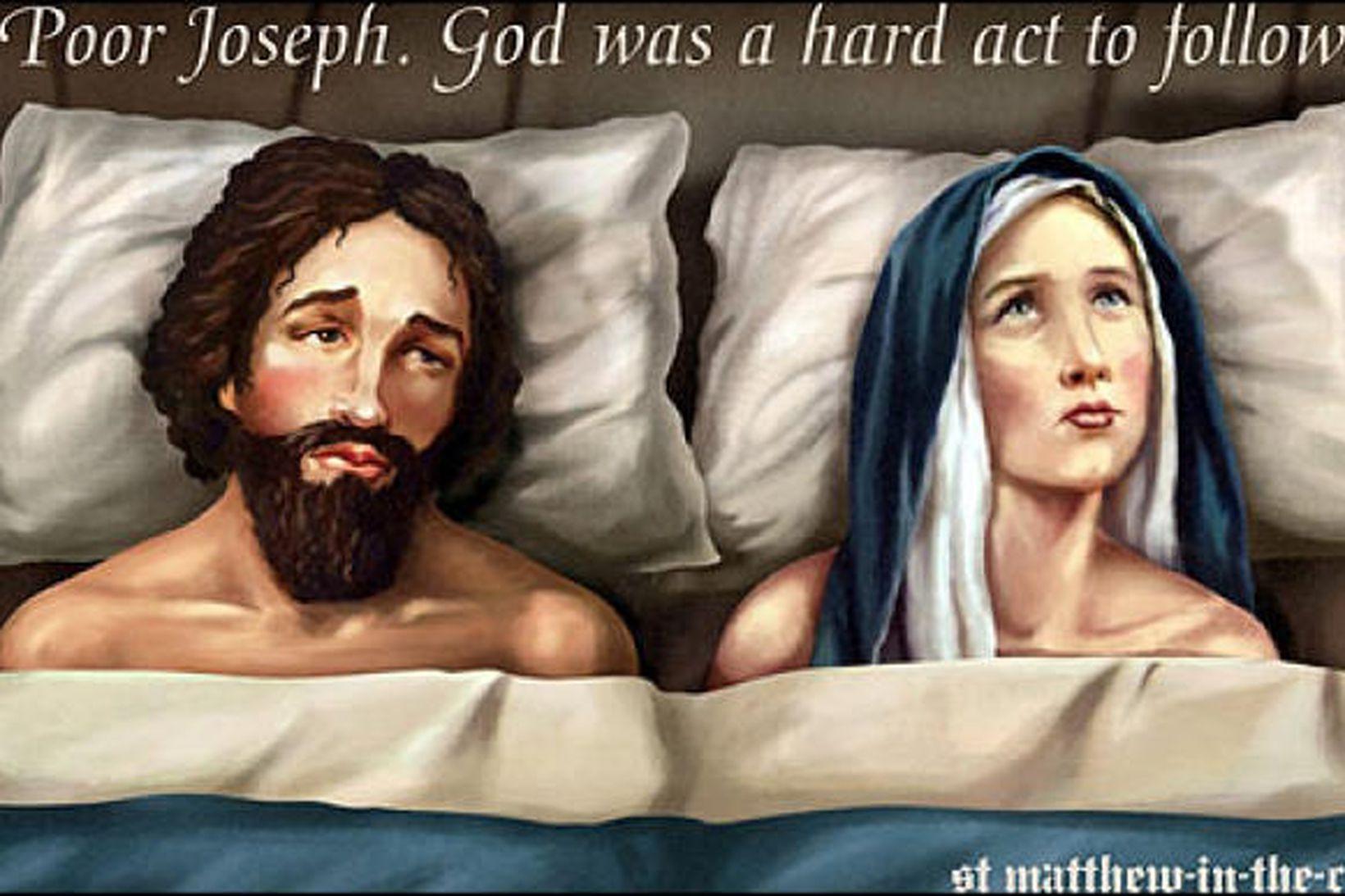 Myndin á skiltinu umdeilda sýndi Jósef og Maríu í rúminu.