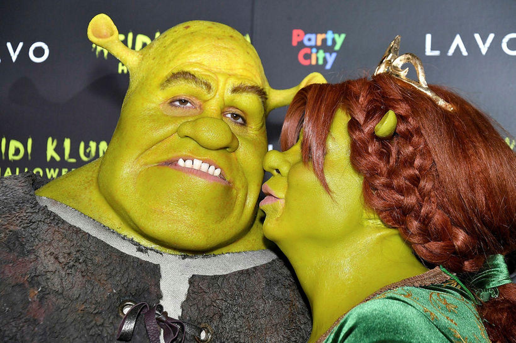 Heidi Klum og eiginmaður hennar Tom Kaulitz sem Shrek og …