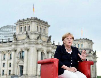 Angela Merkel í viðtalinu við ARD.