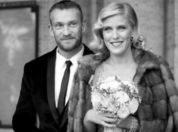 Björgólfur Thor Björgólfsson og Kristín Ólafsdóttir á brúðkaupsdaginn.