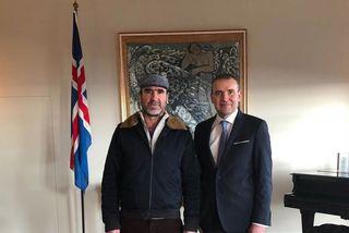 Eric Cantona ásamt forseta Íslands á Bessastöðum.
