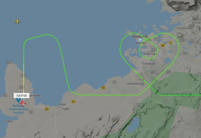 The flight path forms a heart.
