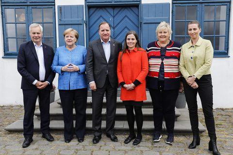 On Viðey island. From left, Finnish PM Antti Rinne, German Chancellor Angela Merkel,  Swedish PM Stefan Löfven, Icelandic PM Katrín Jakobsdóttir, Norwegian PM Erna Solberg, and Danish PM Mette Frederiksen.