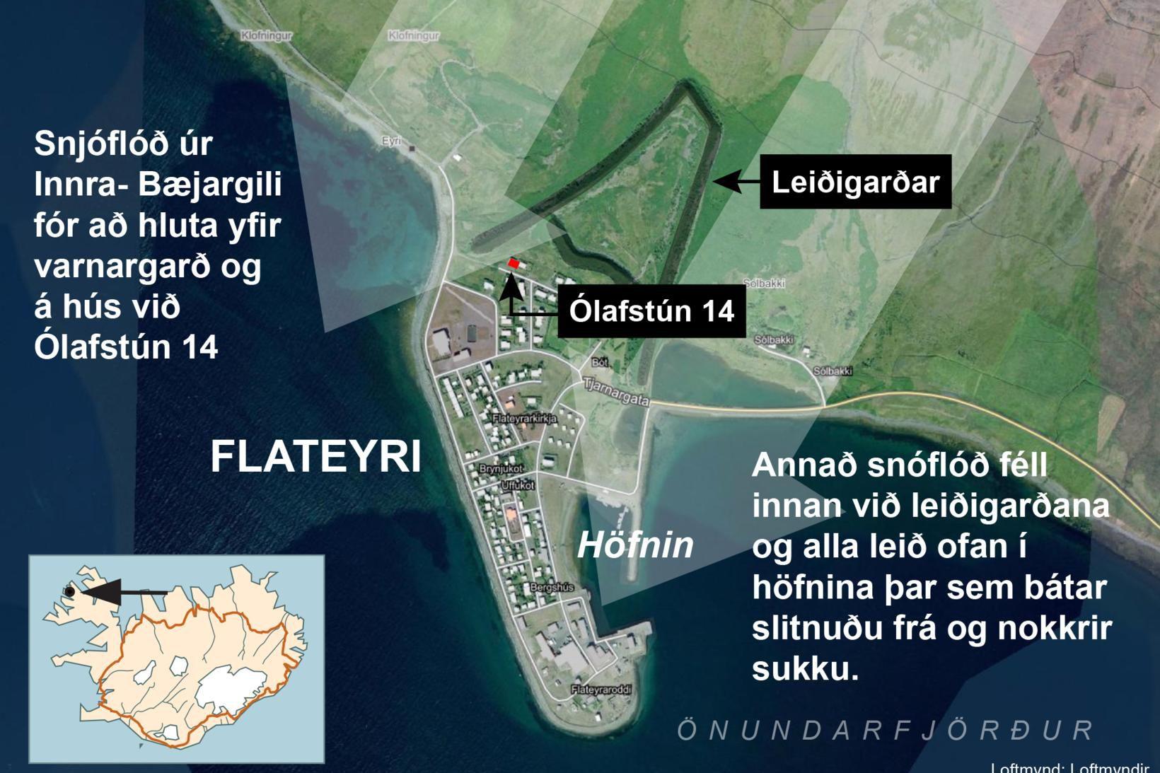 Tvö snjóflóð féllu á Flateyri seint í gærkvöldi.