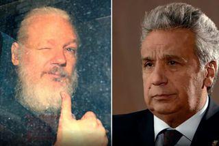 Julian Assange, daginn sem hann var handtekinn í sendiráði Ekvador í London, og Lenín Moreno, ...